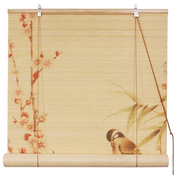 Handmade 36-inch 'Love Birds' Bamboo Blinds (China)