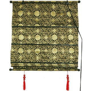 Handmade 48-inch Black/Gold Shang Hai Tan Blinds (China)