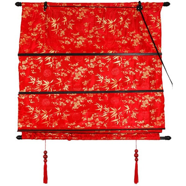 Handmade Red 24-inch Shang Hai Tan Blinds (China)