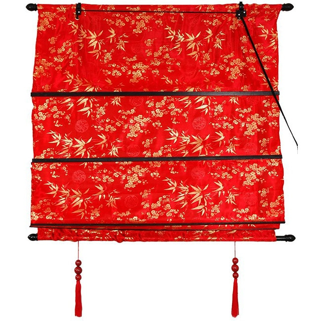 Handmade 36-inch Red Shang Hai Tan Blinds (China) - Thumbnail 0