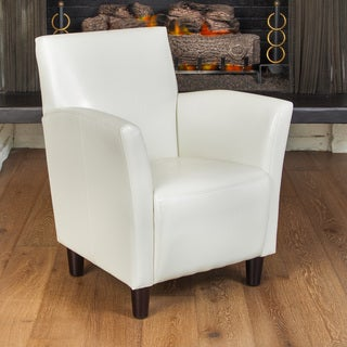 Francisco White Bonded Leather Club Chair by Christopher Knight Home