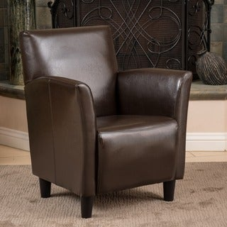 Francisco Brown Bonded Leather Club Chair by Christopher Knight Home