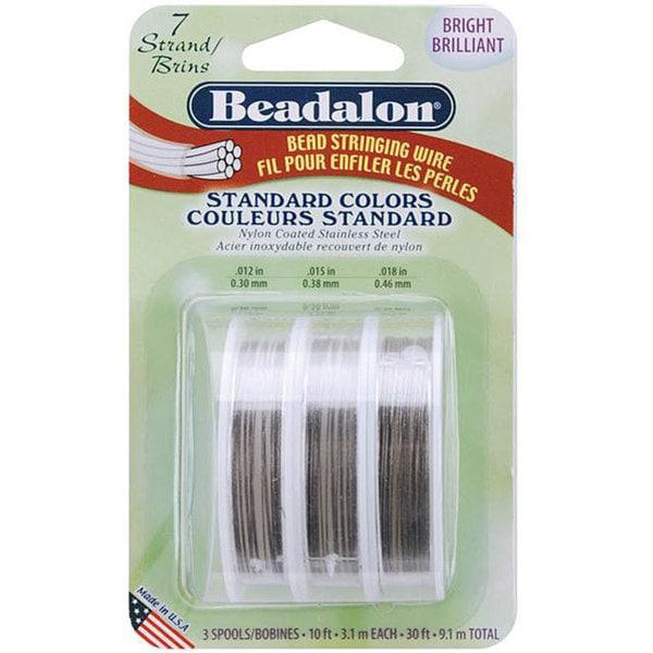 Beadalon Bright Bead Stringing Wire 7-Strand Variety Pack (30 feet)