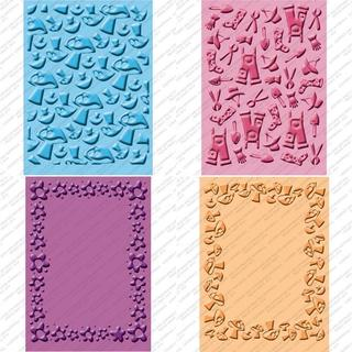 Cricut Cuttlebug Textured Companion Embossing Folder Four-Piece Package
