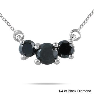 Marquee Jewels 14k White Gold 1/4 to 1ct TDW Diamond 3-stone Necklace