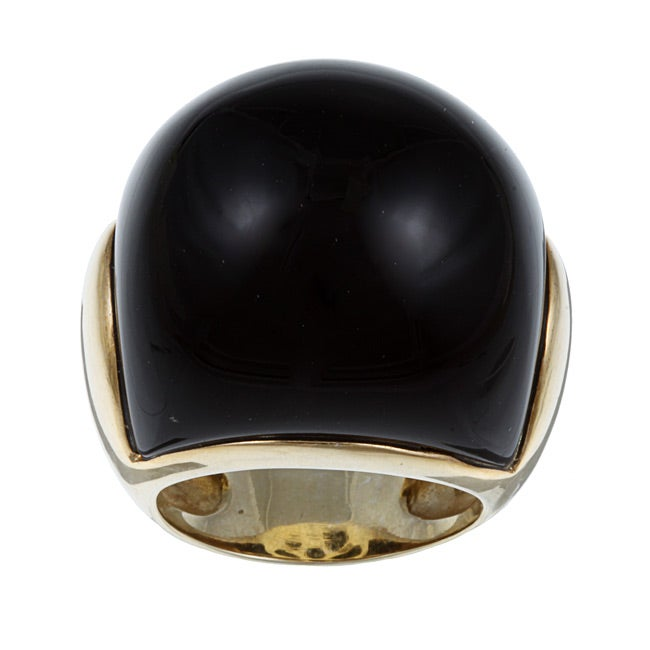 Kabella 14k Yellow Gold over Sterling Silver Black Agate Ring
