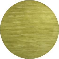Hand-tufted Mandara Solid Green Wool Rug (7'9 Round)