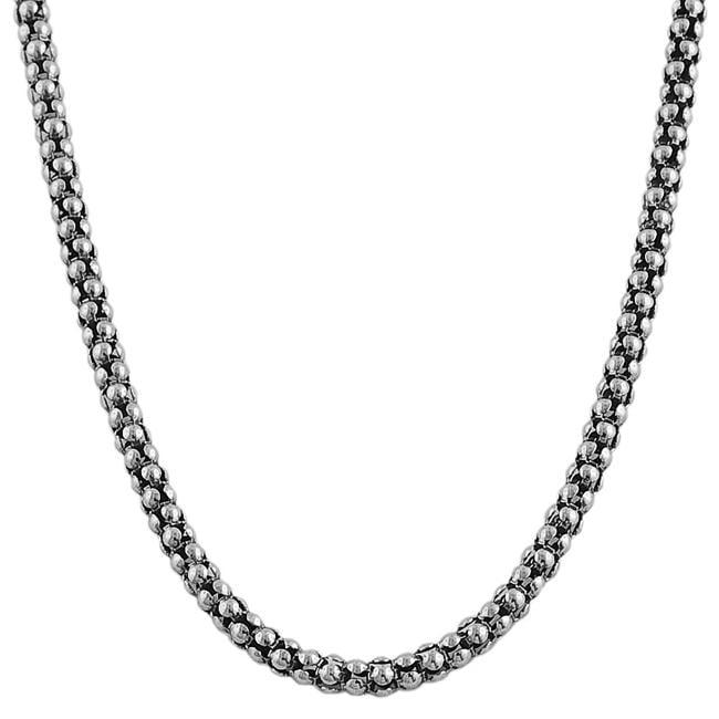 Fremada Rhodiumplated Sterling Silver 18-inch Popcorn Chain