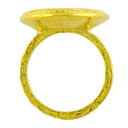 GoldKist 18k Gold over Silver Hammered Oval Ring - Thumbnail 1