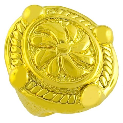 Goldkist 18k Gold over Silver Hammered Floral Ring
