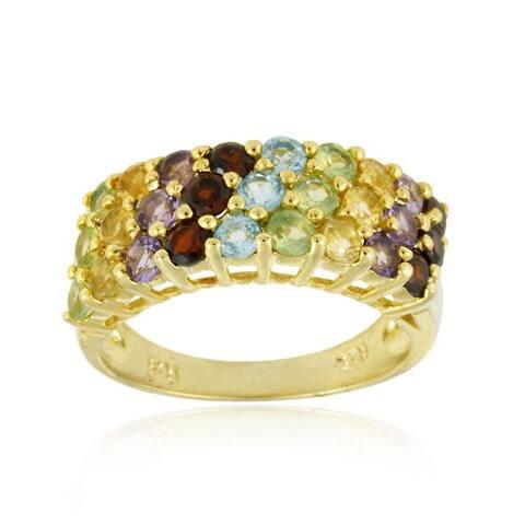 Glitzy Rocks 18k Gold over Silver Multi-gemstone Ring