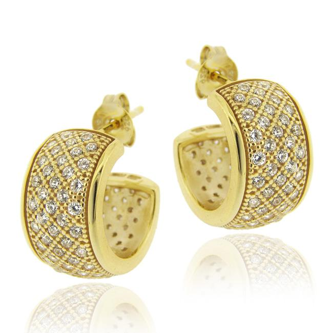 Icz Stonez 18k Gold over Sterling Silver Cubic Zirconia Hoop Earrings