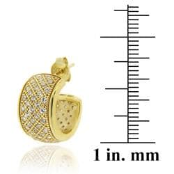 Icz Stonez 18k Gold over Sterling Silver Cubic Zirconia Hoop Earrings - Thumbnail 2