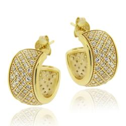 Icz Stonez 18k Gold over Sterling Silver Cubic Zirconia Hoop Earrings - Thumbnail 0
