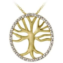 DB Designs 18k Gold over Sterling Silver Diamond Accent Tree of Life Necklace