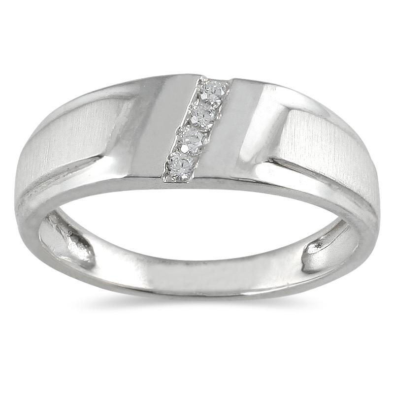 Marquee Jewels 10k White Gold Men's 1/10ct TDW Diamond Ring (I-J, I1-I2)