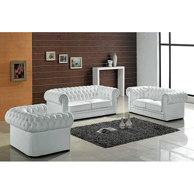 Madeline Modern White Leather Sofa