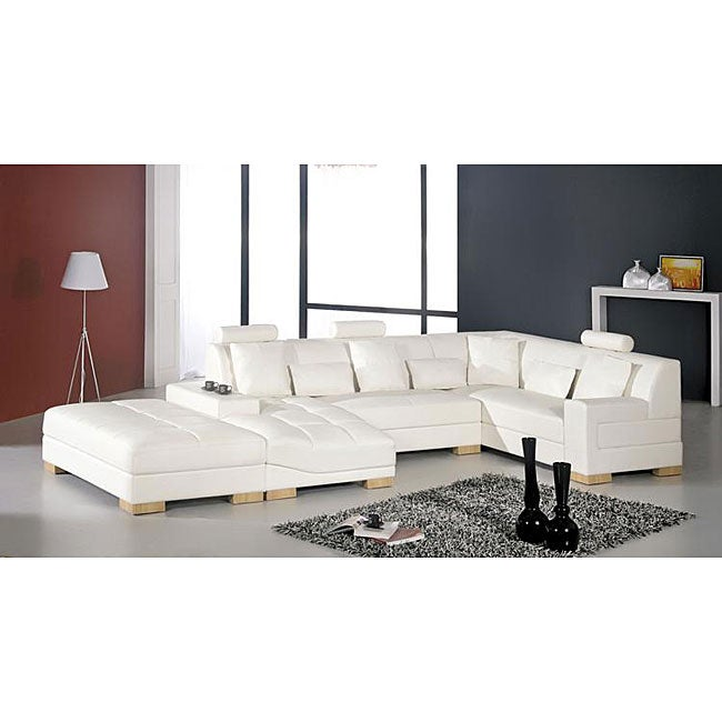 Danville Modern White Leather Sectional Sofa