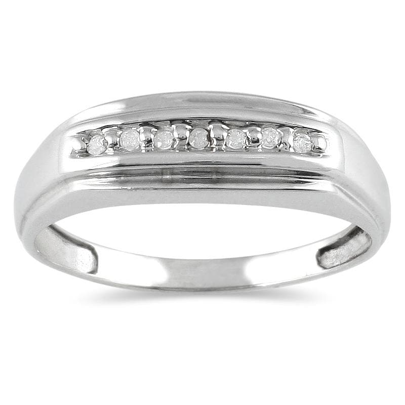 Marquee Jewels 10k White Gold 1/10ct TDW Men's Diamond Ring (H-I, I1-I2)