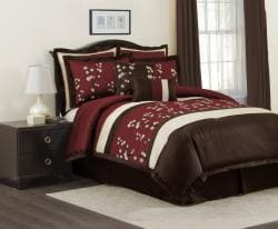 Lush Decor Red Cocoa Flower 8-piece Comforter Set - Thumbnail 1