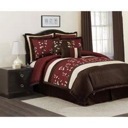 Lush Decor Red Cocoa Flower 8-piece Comforter Set - Thumbnail 0