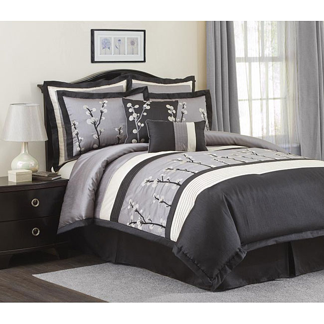 Shop Lush Decor Black Cocoa Flower 8 Piece Comforter Set