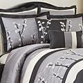 Lush Decor Black Cocoa Flower 8-piece Comforter Set