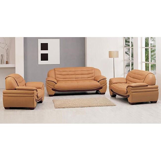 Westminster Contemporary Camel Leather 3-pc Sofa Set