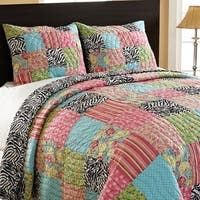 Zebra Patchwork Reversible 3-piece Quilt Set