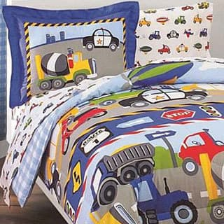 Dream Factory Trucks and Tractors Twin-size 5-piece Bed in a Bag with Sheet Set|https://ak1.ostkcdn.com/images/products/5324063/Trucks-and-Tractors-5-piece-Twin-size-Bed-in-a-Bag-with-Sheet-Set-P13130234.jpg?impolicy=medium