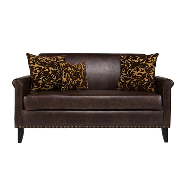 Handy Living Harlow Coffee Brown Renu Leather Sofa