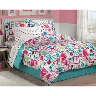 Peace Out Twin-size 5-piece Bed in a Bag with Sheet Set