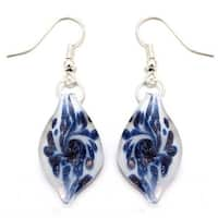 Murano Inspired Glass Denim Blue and White Leaf Earrings