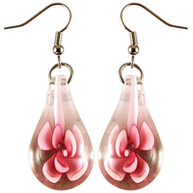 Murano Inspired Glass Pink Flower Teardrop Earrings