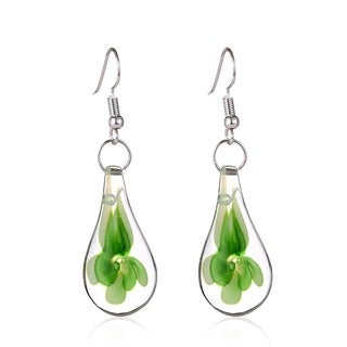 Murano Inspired Glass Green Flower Teardrop Earrings