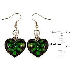 Murano Inspired Glass Black and Green Flower Heart Earrings - Thumbnail 1