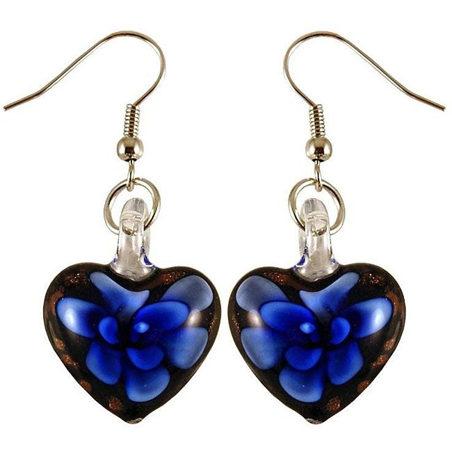 Murano Inspired Glass Black and Blue Flower Heart Earrings