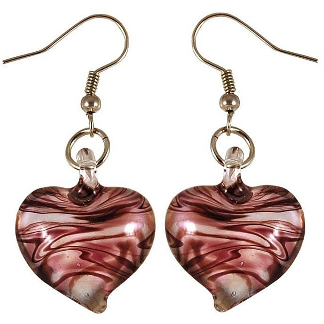 Murano Inspired Glass Purple and White Swirl Heart Earrings