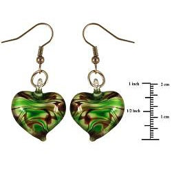 Murano-inspired Glass Heart Dangle Earrings - Thumbnail 1
