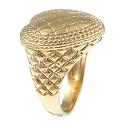 Sterling Essentials 14K Gold over Silver Quilted Heart Ring - Thumbnail 1