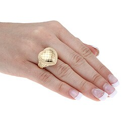 Sterling Essentials 14K Gold over Silver Quilted Heart Ring - Thumbnail 2