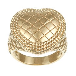 Sterling Essentials 14K Gold over Silver Quilted Heart Ring