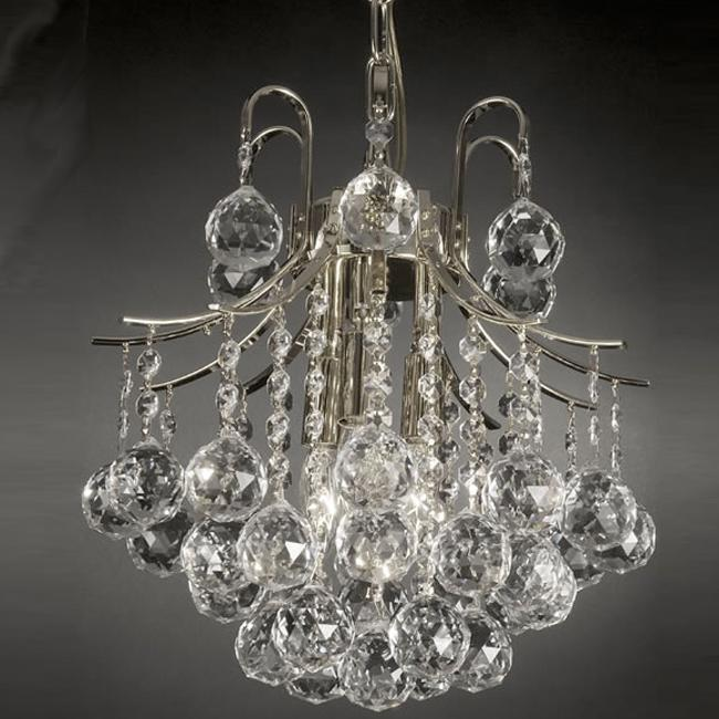 Gallery Indoor 3-light Crystal/ Silver Mini Chandelier