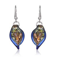 Glass Blue Twisted Leaf Earrings