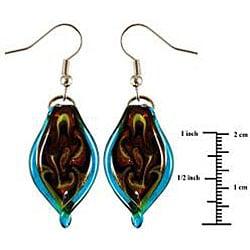 Murano Inspired Glass Aqua Blue Twisted Leaf Earrings
