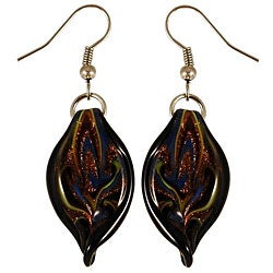 Murano Inspired Glass Black Twisted Leaf Earrings