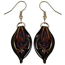 Glass Black Twisted Leaf Earrings