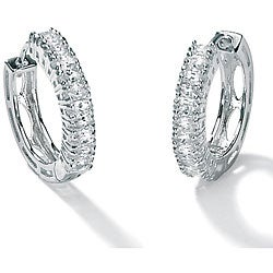 PalmBeach 2.20 TCW Marquise-Cut Cubic Zirconia Platinum over Sterling Silver Hoop Earrings Classic CZ