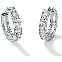 2.20 TCW Marquise-Cut Cubic Zirconia Platinum over Sterling Silver Hoop Earrings Classic C