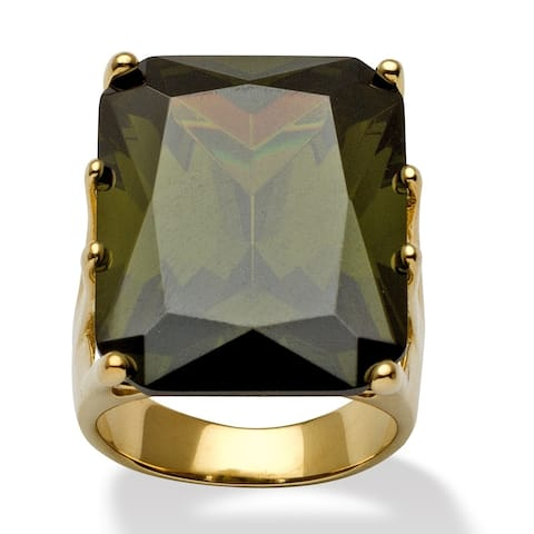 Yellow Gold over Sterling Silver Olivine Cubic Zirconia Ring - Green